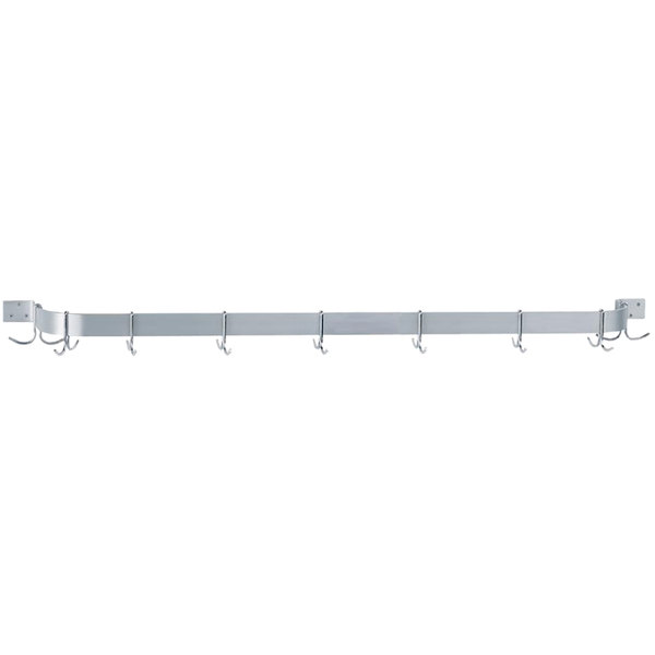 """Advance Tabco SW1-96-EC 96"""" Stainless Steel Wall Mounted Single Line Pot Rack with 9 Double Prong Hooks Main Image 1"""