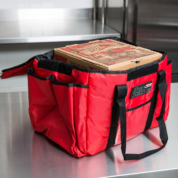 "Rubbermaid FG9F4000RED ProServe Insulated Sandwich Delivery Bag Red Nylon 15"" x 12"" x 12"""