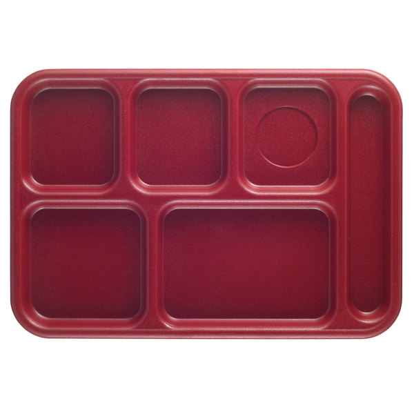 """Cambro BCT1014416 Budget 6 Compartment Cranberry Serving Tray -10"""" x 14 1/2"""" - 24/Case"""