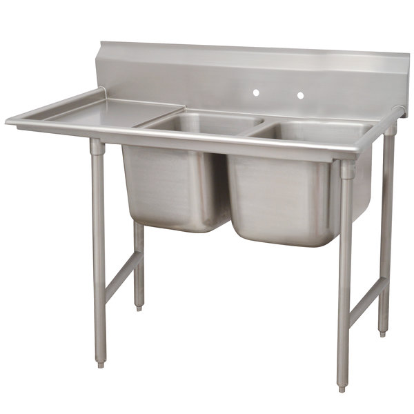 """Left Drainboard Advance Tabco 93-2-36-18 Regaline Two Compartment Stainless Steel Sink with One Drainboard - 58"""""""