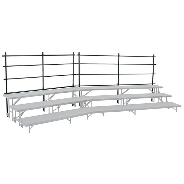 """National Public Seating GRR32T Back Guardrail for 18"""" x 32"""" Tapered Risers"""