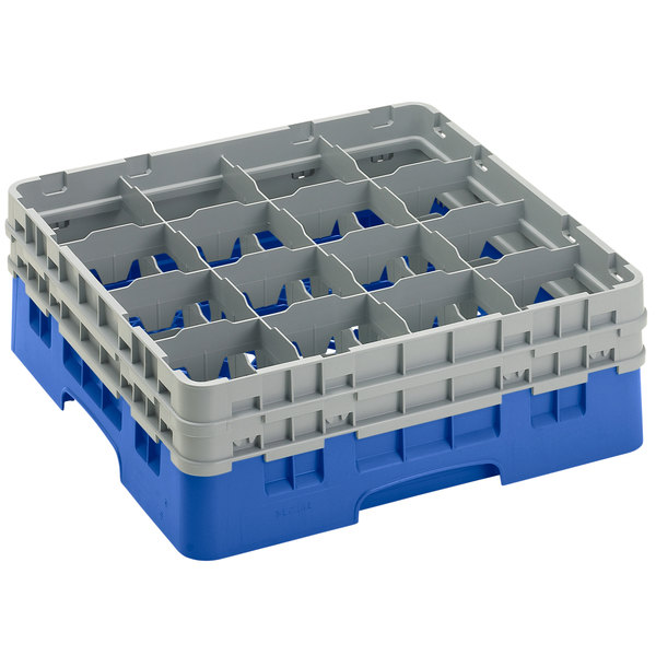 "Cambro 16S534-168 Camrack 6 1/8"" High Customizable Blue 16 Compartment Glass Rack Main Image 1"