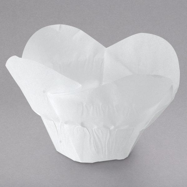 """Hoffmaster 611113 2"""" x 2 3/4"""" White Lotus Baking Cup - 250/Pack Main Image 1"""