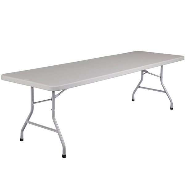 National Public Seating BT3096 30 inch x 96 inch Gray Plastic Folding Table
