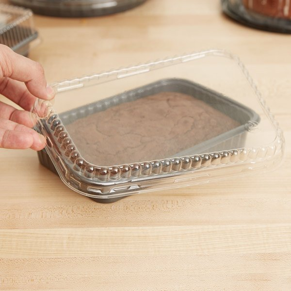 Genpak 95026 Clear OPS Dome Lid for 55026 and 55027 Dual Ovenable Food Pans - 250/Case