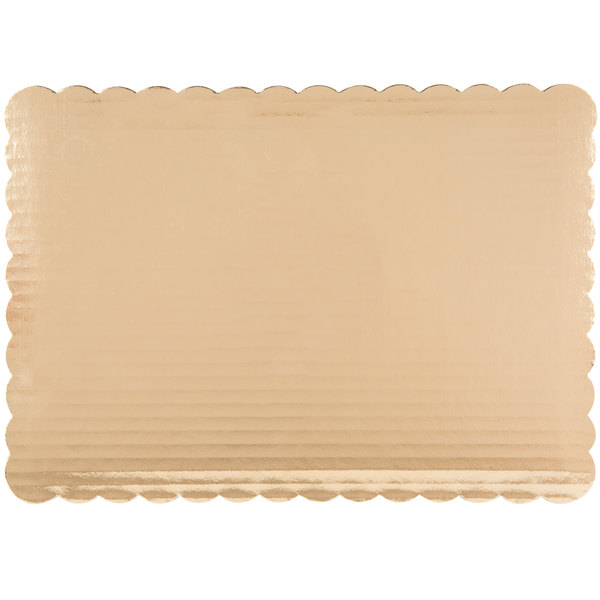 "14"" x 10"" Gold Laminated Rectangular Cake Pad - 100/Bundle"