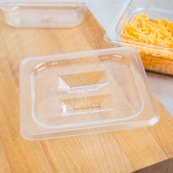 1/6 Size Clear Polycarbonate Food Pan Lid with Handle Main Image 3