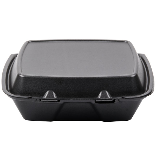Dart Solo 90HTB1R 9 inch x 9 inch x 3 inch Black Foam Hinged Single Compartment Container 100 / Pack