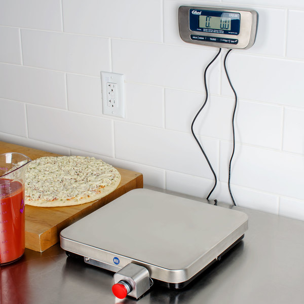 edlund epz 20f 20 lb stainless steel digital pizza scale with front