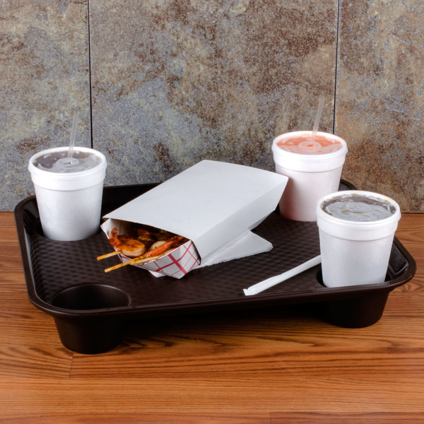 """GET FT-20-BR 14"""" x 17"""" Brown Plastic Fast Food Tray with Cup Holders"""