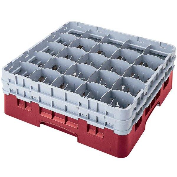 "Cambro 25S1058416 Camrack 11"" High Customizable Cranberry 25 Compartment Glass Rack"