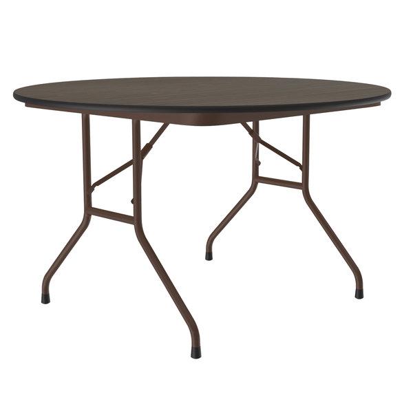 "Correll Round Folding Table, 48"" Melamine Top, Walnut - CF48MR Main Image 1"
