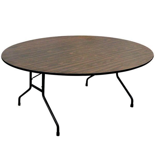 "Correll Round Folding Table, 48"" Melamine Top, Walnut - CF48MR"