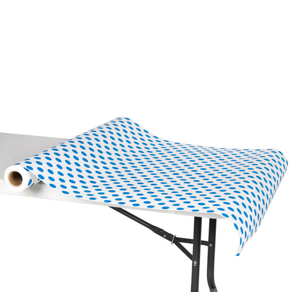 """40"""" x 100' Paper Table Cover with Blue Polka Dots"""