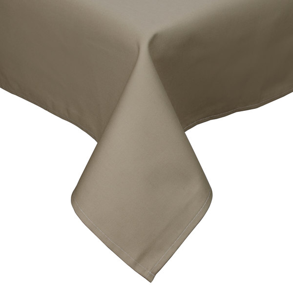"64"" x 110"" Beige Hemmed Polyspun Cloth Table Cover"