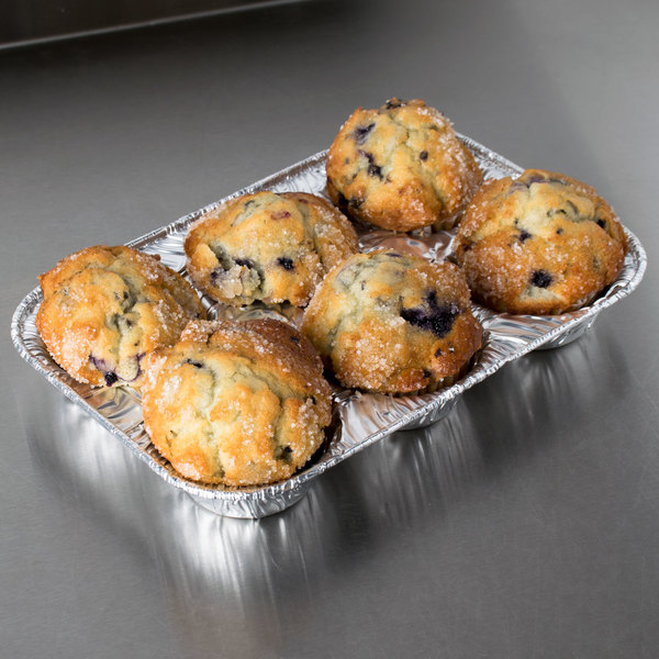 D&W Fine Pack E14 6 Cavity Foil Muffin Pan - 25/Pack