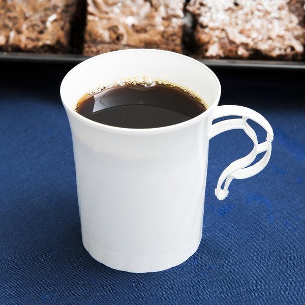 WNA Comet CWM8192W Classicware 8 oz. White Plastic Coffee Cup - 8/Pack Main Image 6