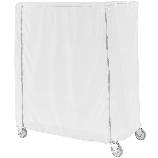 """Metro 18X36X62VC White Vinyl Coated Waterproof Shelf Cart and Truck Cover with Velcro® Closure 18"""" x 36"""" x 62"""" Main Image 1"""