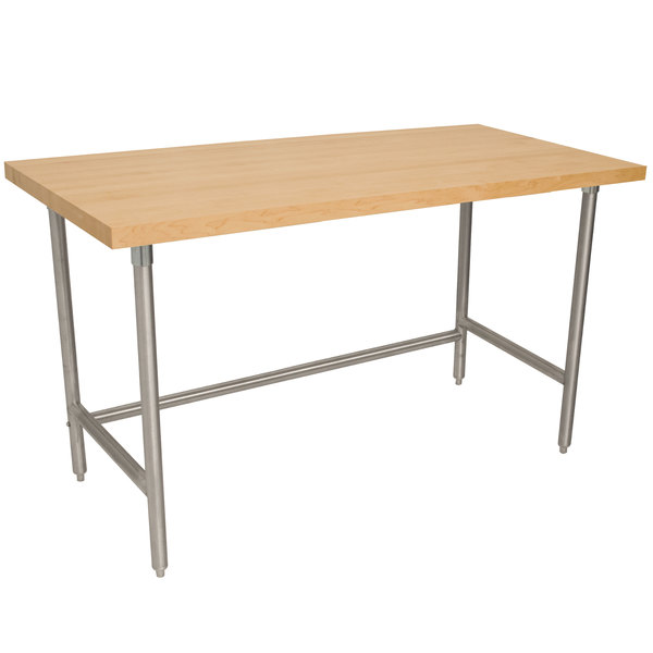 """Advance Tabco TH2S-247 Wood Top Work Table with Stainless Steel Base - 24"""" x 84"""""""