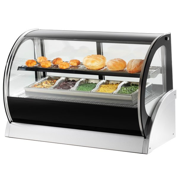 """Vollrath 40857 60"""" Curved Glass Heated Countertop Display Cabinet Main Image 2"""