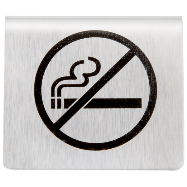 Tablecraft B8 2 12 X 2 Stainless Steel No Smoking Symbol Tent Sign