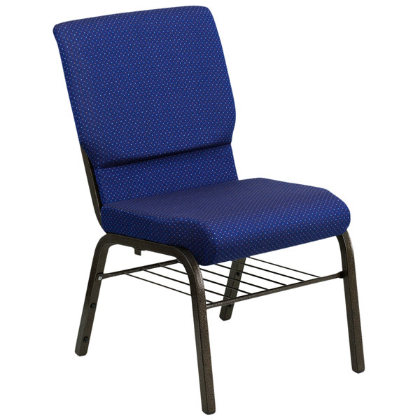 """Flash Furniture XU-CH-60096-NVY-DOT-BAS-GG Navy Blue 18 1/2"""" Wide Church Chair with Communion Cup Book Rack - Gold Vein Frame"""