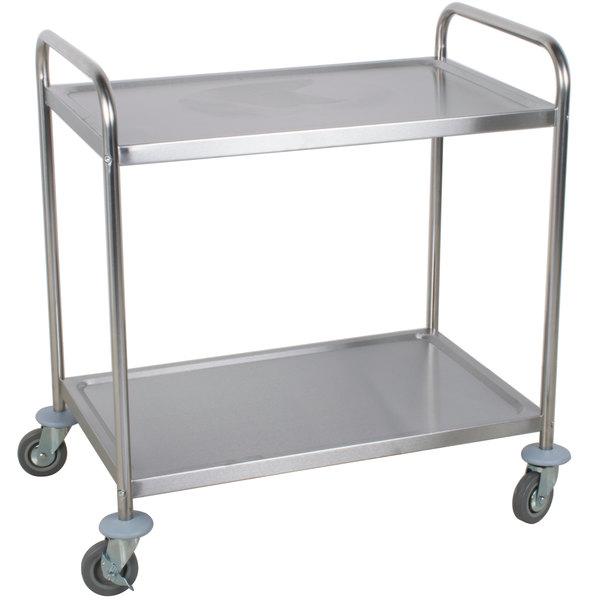 Restaurant Kitchen Silver Stainless Steel 2//3 Shelves Utility Cart in 2 Sizes