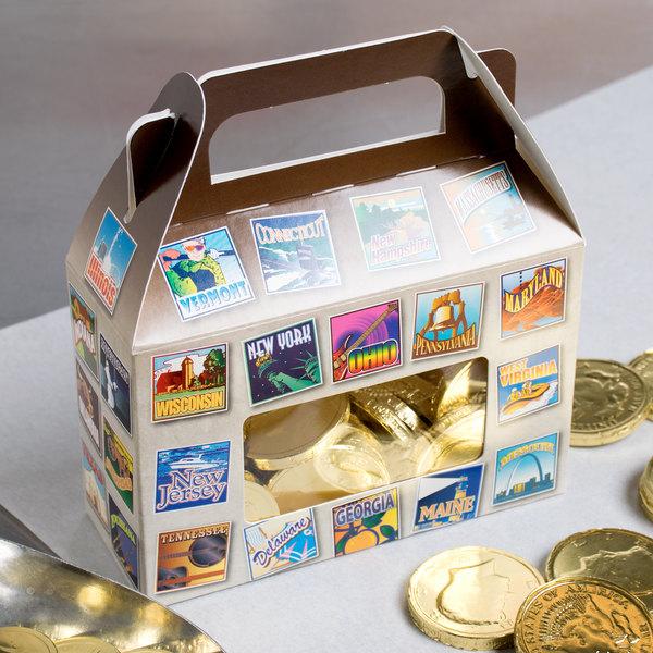 "1-Piece 1/2 lb. State Window Candy Box 5 3/8"" x 2"" x 3 1/2"" - 250/Case"