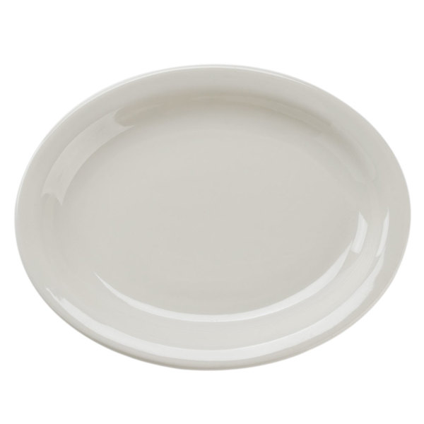 CAC NRC-41 Ivory (American White) Narrow Rim Oval China Platter - 36/Case