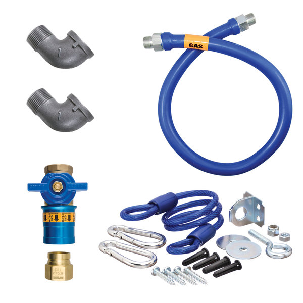 "Dormont 16100KITCF36 Deluxe Safety Quik® 36"" Gas Connector Kit with Two Elbows and Restraining Cable - 1"" Diameter"