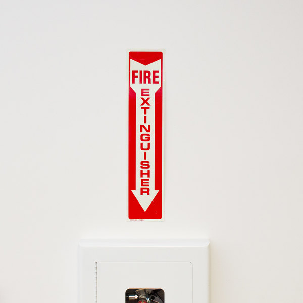 """Buckeye Glow-In-The-Dark Fire Extinguisher Adhesive Label - Red and White, 18"""" x 4"""""""