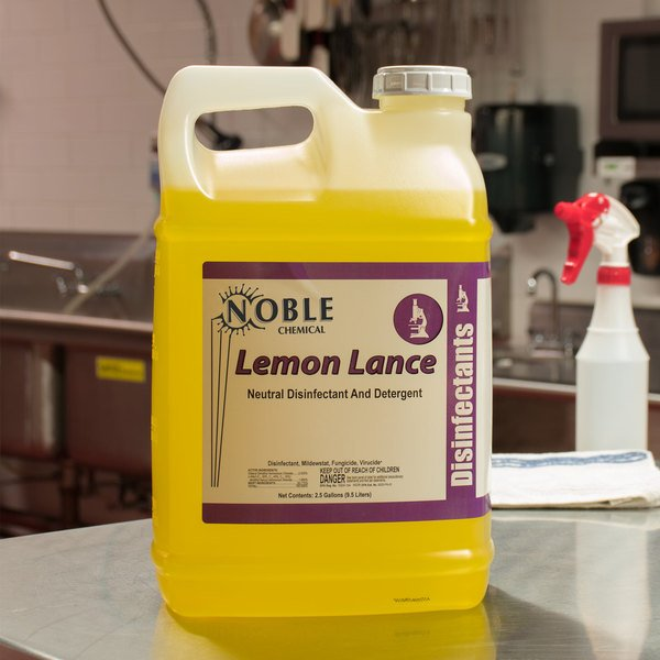 Noble Chemical 2.5 Gallon / 320 oz. Lemon Lance Lemon Disinfectant & Detergent Cleaner - 2/Case Main Image 3