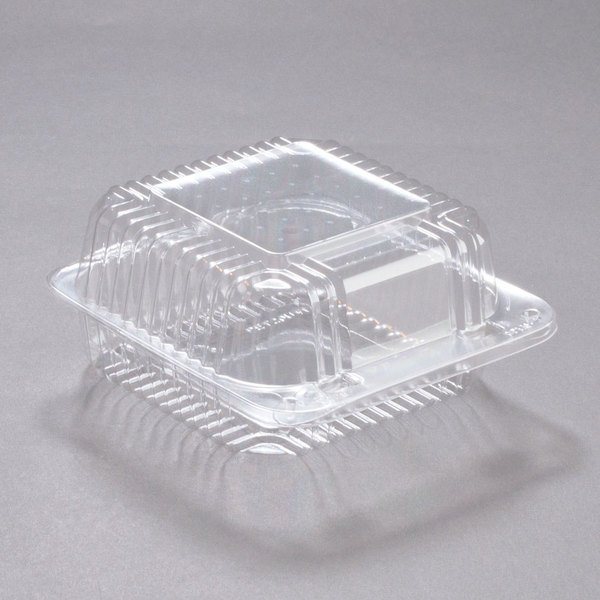 Dart C20UTD StayLock 5 1/4 inch x 5 5/8 inch x 3 1/4 inch Clear Hinged Plastic 5 inch Square Deep Base Container - 500/Case