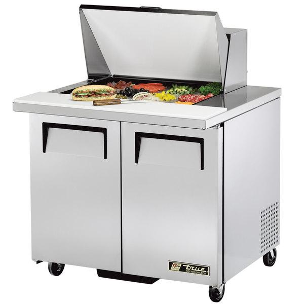 "True TSSU-36-12M-B 36"" 2 Door Mega Top Refrigerated Sandwich Prep Table"