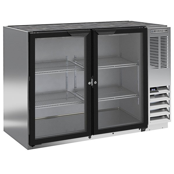 "Beverage-Air BB48HC-1-GS-S 48"" Stainless Steel Back Bar Refrigerator with Two Sliding Glass Doors Main Image 1"