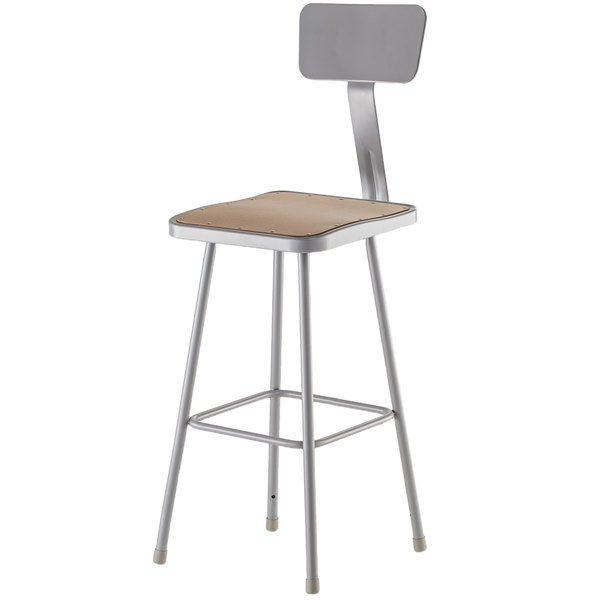 """National Public Seating 6330B 30"""" Gray Hardboard Square Lab Stool with Adjustable Back"""