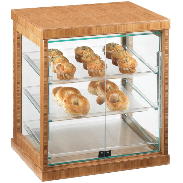 """Cal-Mil 284-S-60 Three Tier Bamboo Display Case with Dual Front Doors - 21"""" x 16 1/4"""" x 22 1/2"""" Main Image 1"""