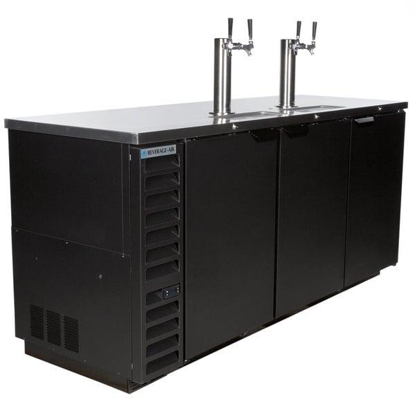 Beverage-Air DD78HC-1-B (2) Double Tap Kegerator Beer Dispenser - Black, (4) 1/2 Keg Capacity