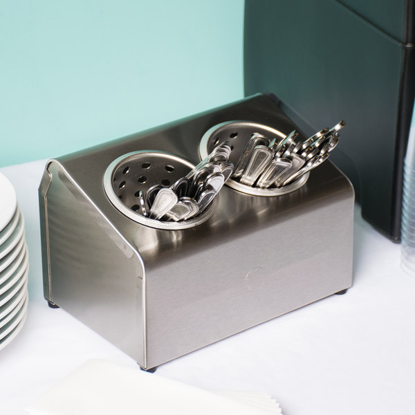 Steril-Sil LTC-2S Two Hole Stainless Steel Flatware Cylinder Holder In-Line