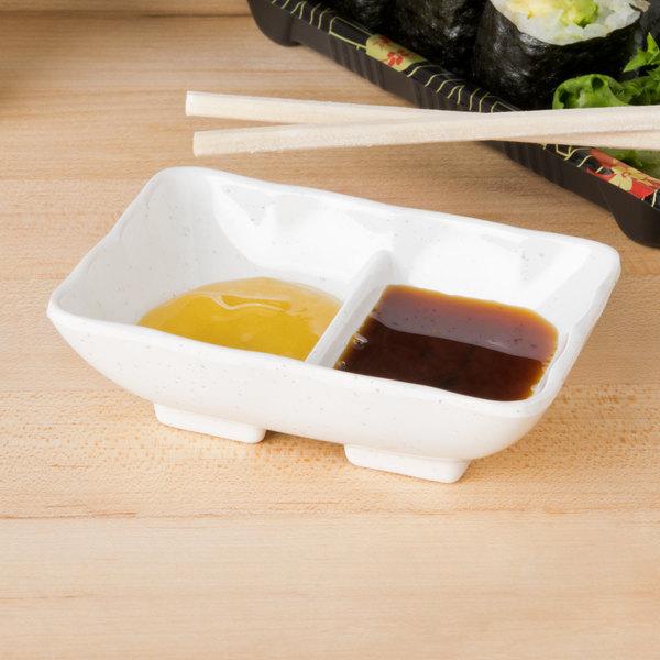 Thunder Group 0002BB Blue Bamboo 2 oz. Rectangular Melamine Divided Sauce Dish - 12/Pack