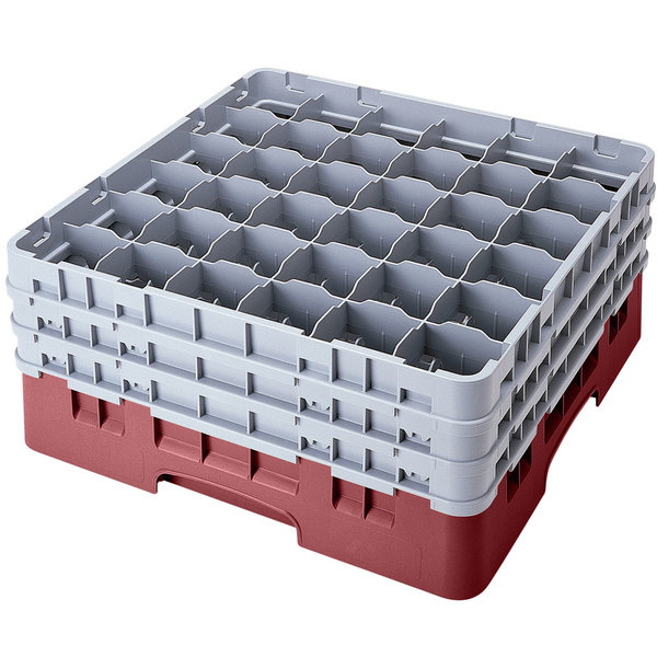 """Cambro 36S958163 Red Camrack Customizable 36 Compartment 10 1/8"""" Glass Rack Main Image 1"""