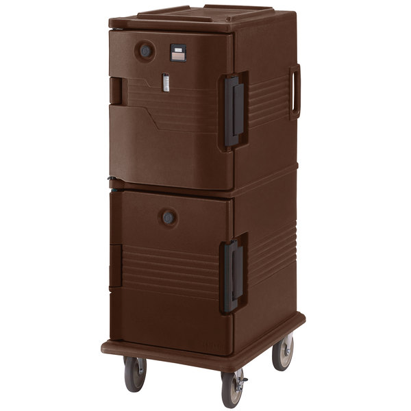 Cambro UPCHT8002131 Dark Brown Ultra Camcart Two Compartment Heated Holding Pan Carrier with Casters, Top Compartment Heated - 220V (International Use Only)