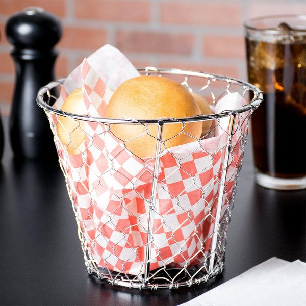 """American Metalcraft WIR1 Round Chrome Chicken Wire Basket - 7"""" x 5 1/2"""" Main Image 6"""