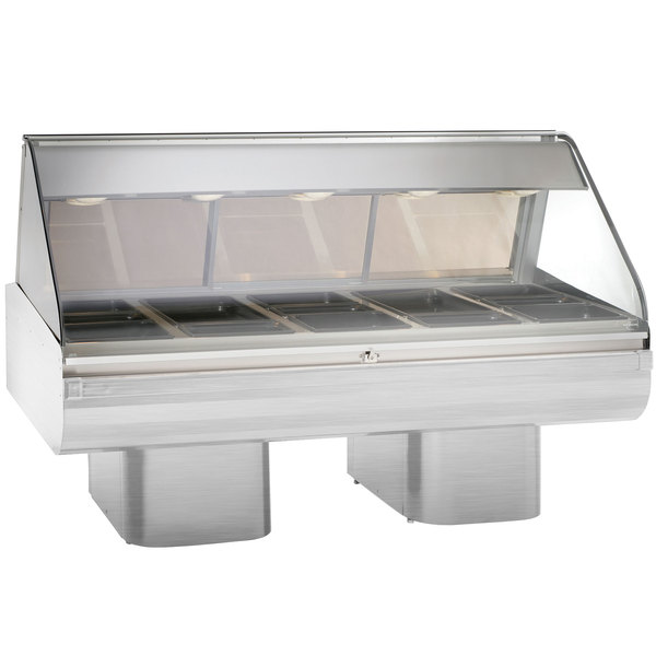 Alto-Shaam PD2SYS-72 SS Stainless Steel Heated Display Case with Curved Glass and Pedestal Base - Full Service 72""