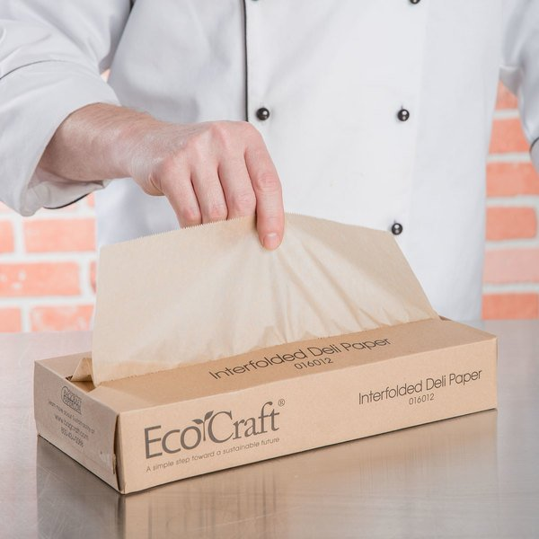 "Case of 6000 (12 Boxes of 500) Bagcraft Papercon 016012 12"" x 10 3/4"" EcoCraft Interfolded Deli Wrap"