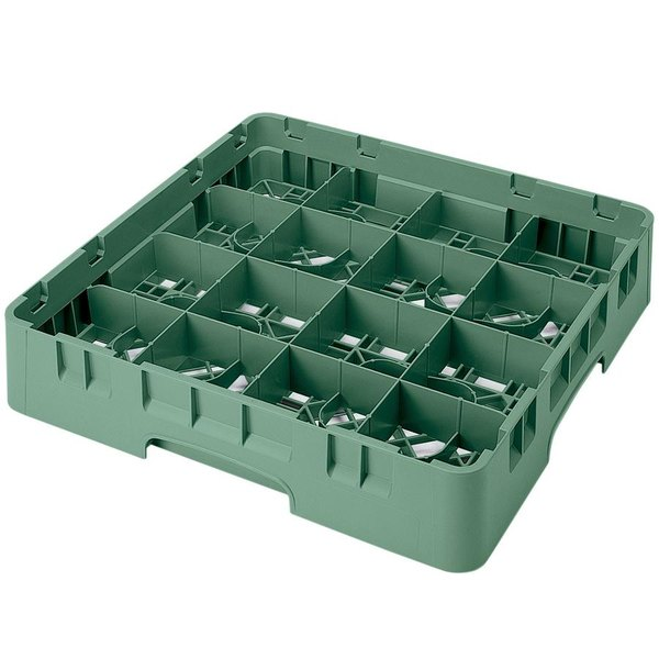 "Cambro 16S1114119 Camrack 11 3/4"" High Customizable Sherwood Green 16 Compartment Glass Rack"