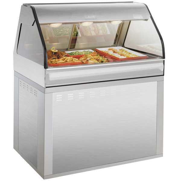 "Alto-Shaam EU2SYS-48 SS Stainless Steel Cook / Hold / Display Case with Curved Glass and Base - Full Service, 48"" Main Image 1"