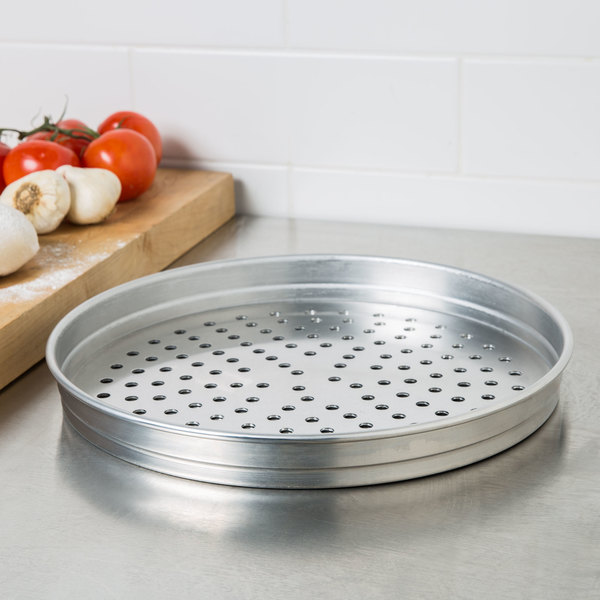 "American Metalcraft PHA5114 5100 Series 14"" Perforated Heavy Weight Aluminum Straight Sided Self-Stacking Pizza Pan"