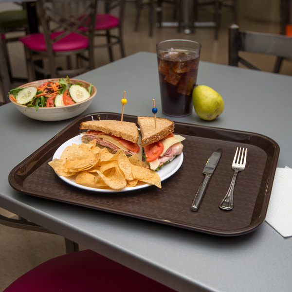"""Carlisle CT141869 Cafe 14"""" x 18"""" Chocolate Brown Standard Plastic Fast Food Tray - 12/Case"""