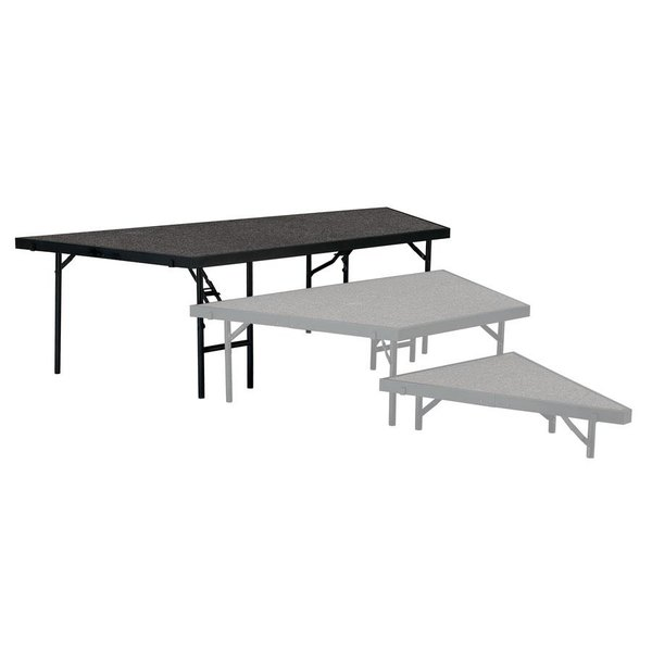 """National Public Seating SP3624C Portable Stage Pie Unit with Gray Carpet - 36"""" x 24"""""""